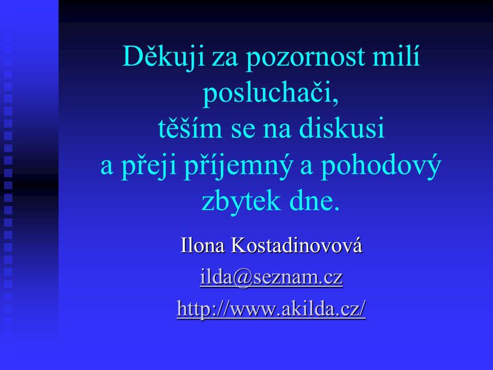 Děkuji za pozornost milí posluchači, těším se na diskusi a přeji příjemný a pohodový zbytek dne. Ilona Kostadinovová ilda@seznam.cz ilda@seznam.cz htt