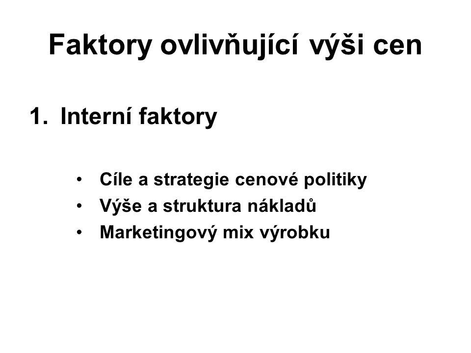 Faktory ovlivňující výši cen 1.Interní faktory Cíle a strategie cenové politiky Výše a struktura nákladů Marketingový mix výrobku