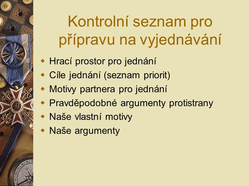  Hrací prostor pro jednání  Cíle jednání (seznam priorit)  Motivy partnera pro jednání  Pravděpodobné argumenty protistrany  Naše vlastní motivy  Naše argumenty Kontrolní seznam pro přípravu na vyjednávání
