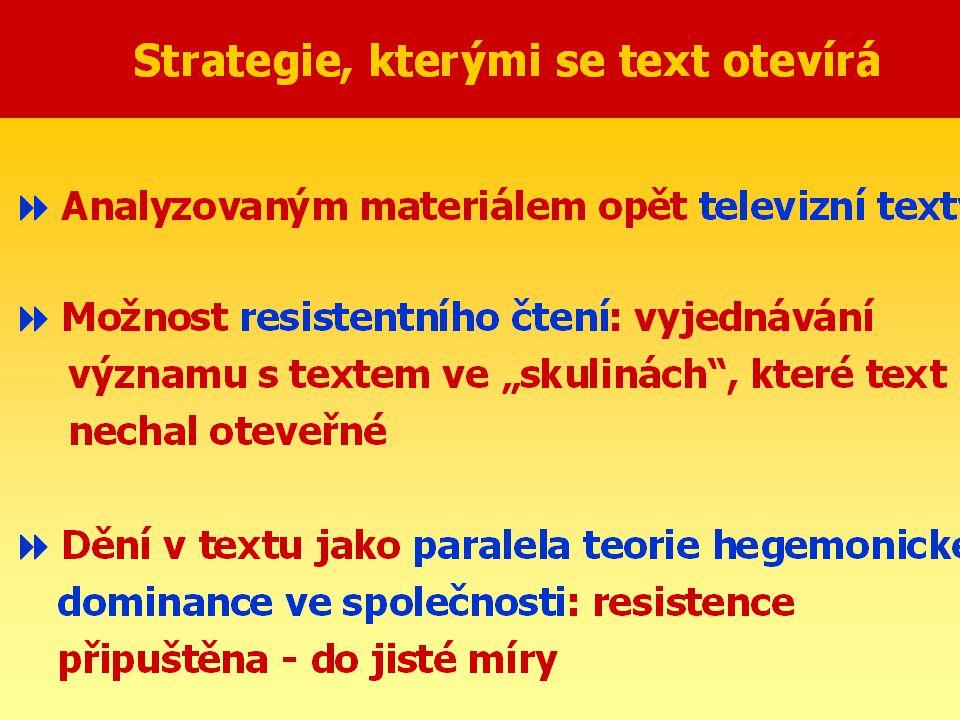 """Textuální přístup: znovu a lépe (1985-88)  Strategie, kterými se text sám sebou otevírá:  dialektika determinace a rezistence  klíčová slova: vyjednávání, soupeření, tenze  John Fiske: aktivovaný text  Strategie otevírání významu na bázi sémiotiky: sémiotický převis; """"producerly texty  Strategie otevírání významu na bázi nabídky slasti: """"plaisir x jouissance"""