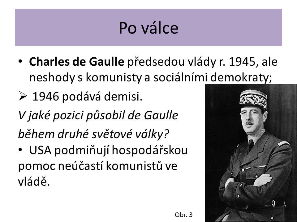 """Francouzská komunistická strana Stalinistická; vyhrála první poválečné volby 1945 s 26 % hlasů v prvním kole a poprvé vstoupila do vlády; 1947 (začátek """"studené války ) – byli z vlády vytlačeni; militanti strany často ve střetu s policií a úřady (např."""