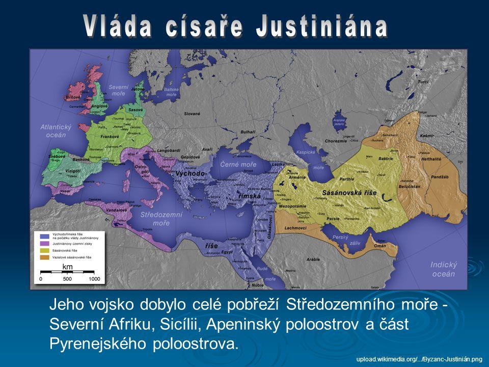  Justinián chtěl obnovit římskou říši v jejím původním rozsahu  k tomu potřeboval řadu reforem = CORPUS IURIS CIVILIS (Soubor občanského práva) – uzákoněno =>  jednota církve a státu (císař je zároveň nejvyšší představitel církve) img4.rajce.idnes.cz/d0406/3/3051/3051990_a3cf...