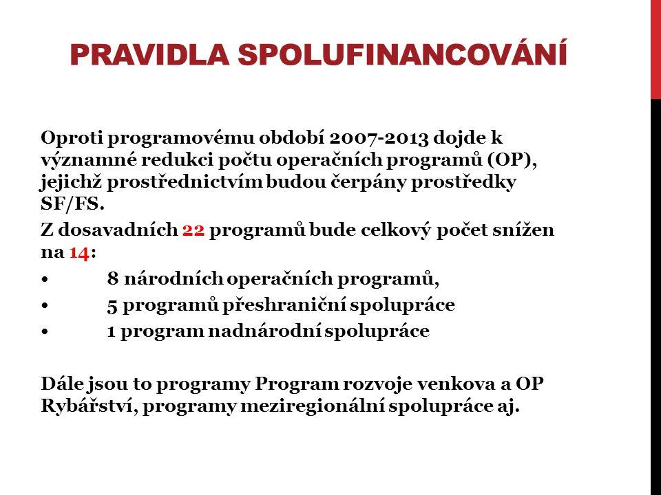PRAVIDLA SPOLUFINANCOVÁNÍ Oproti programovému období 2007-2013 dojde k významné redukci počtu operačních programů (OP), jejichž prostřednictvím budou čerpány prostředky SF/FS.