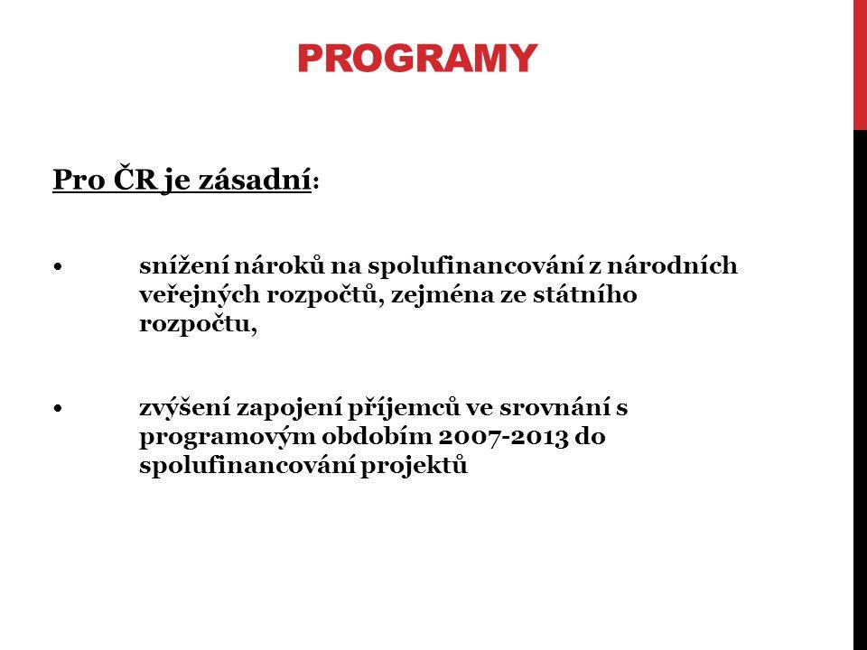 PROGRAMY Pro ČR je zásadní : snížení nároků na spolufinancování z národních veřejných rozpočtů, zejména ze státního rozpočtu, zvýšení zapojení příjemců ve srovnání s programovým obdobím 2007-2013 do spolufinancování projektů