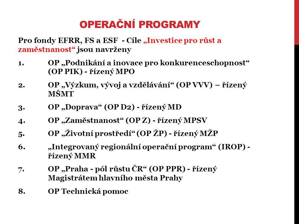 """Pro fondy EFRR, FS a ESF - Cíle """"Investice pro růst a zaměstnanost jsou navrženy 1.OP """"Podnikání a inovace pro konkurenceschopnost (OP PIK) - řízený MPO 2.OP """"Výzkum, vývoj a vzdělávání (OP VVV) – řízený MŠMT 3.OP """"Doprava (OP D2) - řízený MD 4.OP """"Zaměstnanost (OP Z) - řízený MPSV 5.OP """"Životní prostředí (OP ŽP) - řízený MŽP 6.""""Integrovaný regionální operační program (IROP) - řízený MMR 7.OP """"Praha - pól růstu ČR (OP PPR) - řízený Magistrátem hlavního města Prahy 8.OP Technická pomoc"""