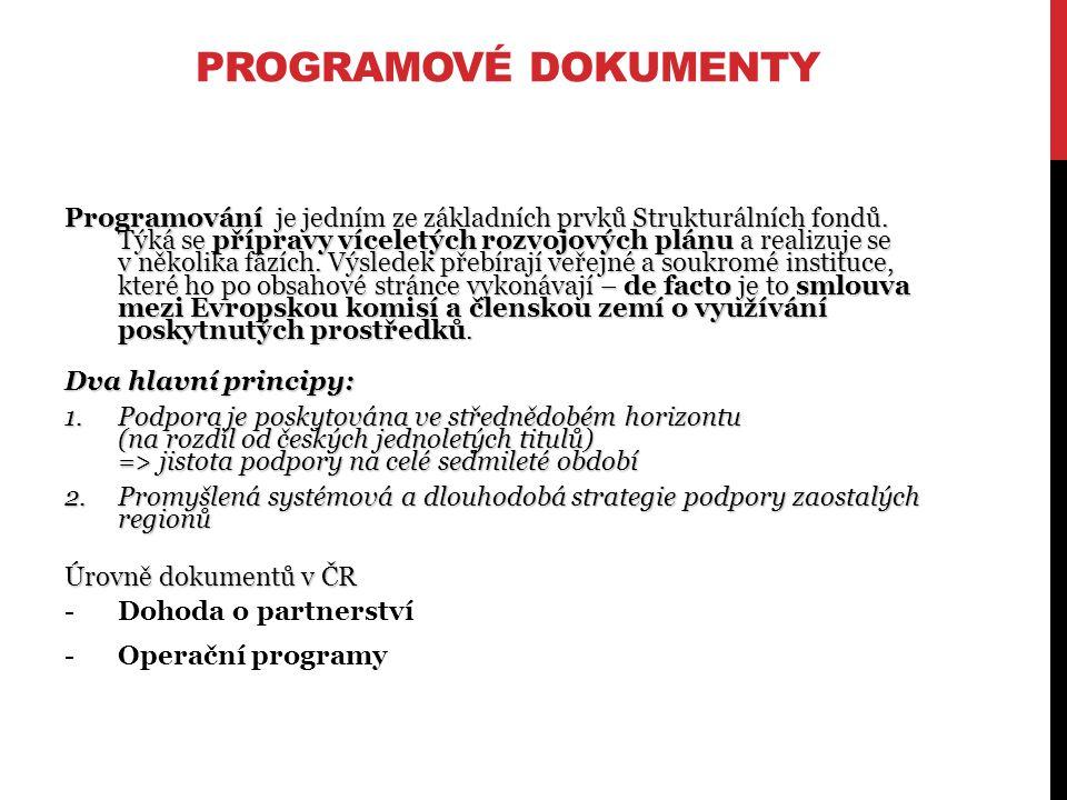 PROGRAMOVÉ DOKUMENTY Programování je jedním ze základních prvků Strukturálních fondů.