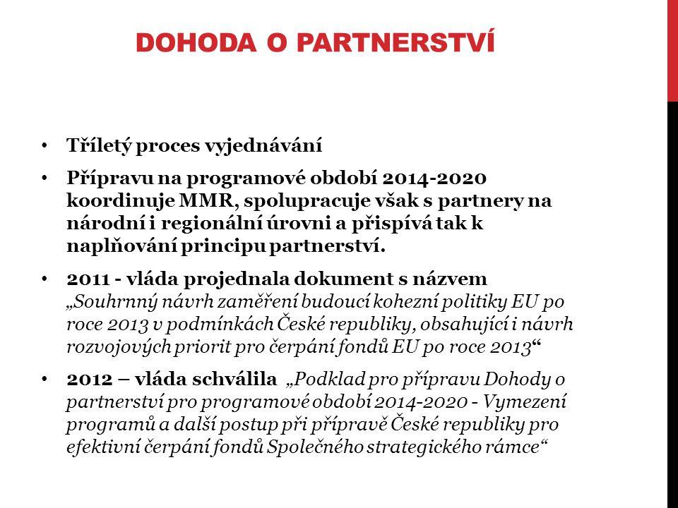 DOHODA O PARTNERSTVÍ Tříletý proces vyjednávání Přípravu na programové období 2014-2020 koordinuje MMR, spolupracuje však s partnery na národní i regionální úrovni a přispívá tak k naplňování principu partnerství.