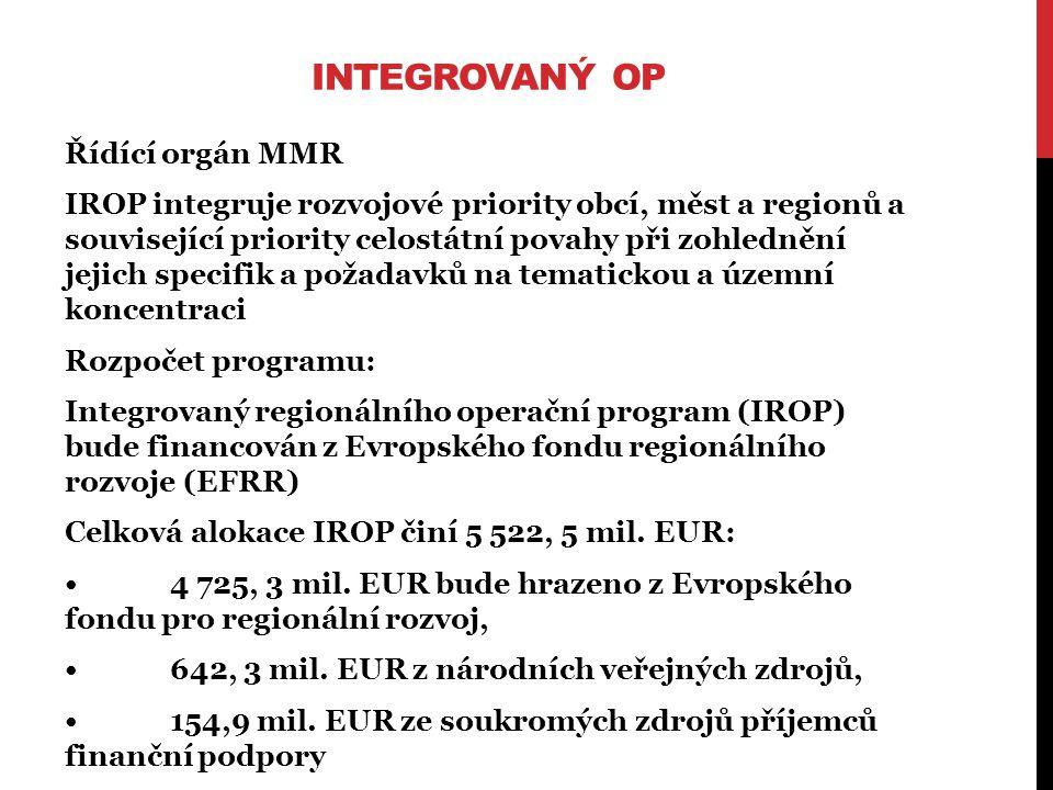 INTEGROVANÝ OP Řídící orgán MMR IROP integruje rozvojové priority obcí, měst a regionů a související priority celostátní povahy při zohlednění jejich specifik a požadavků na tematickou a územní koncentraci Rozpočet programu: Integrovaný regionálního operační program (IROP) bude financován z Evropského fondu regionálního rozvoje (EFRR) Celková alokace IROP činí 5 522, 5 mil.