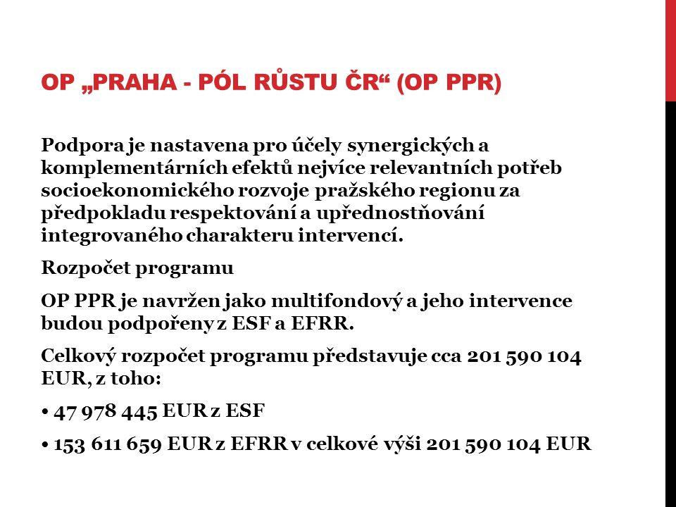 """OP """"PRAHA - PÓL RŮSTU ČR (OP PPR) Podpora je nastavena pro účely synergických a komplementárních efektů nejvíce relevantních potřeb socioekonomického rozvoje pražského regionu za předpokladu respektování a upřednostňování integrovaného charakteru intervencí."""