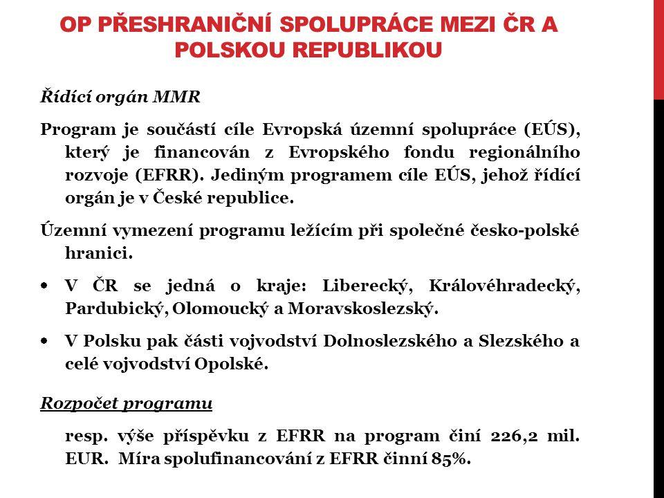 OP PŘESHRANIČNÍ SPOLUPRÁCE MEZI ČR A POLSKOU REPUBLIKOU Řídící orgán MMR Program je součástí cíle Evropská územní spolupráce (EÚS), který je financován z Evropského fondu regionálního rozvoje (EFRR).