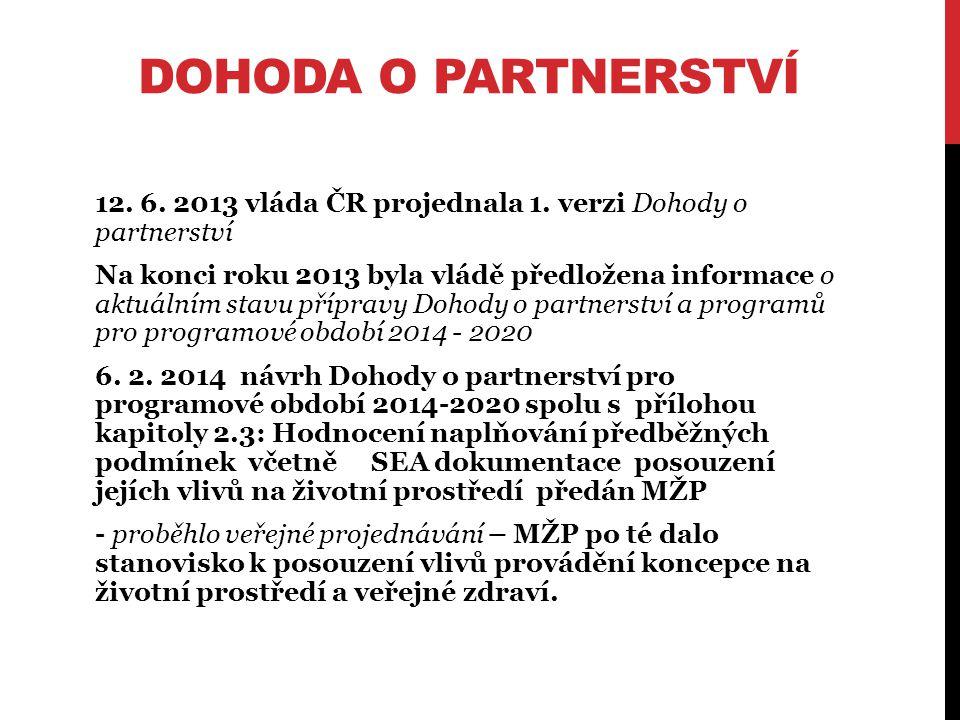 DOHODA O PARTNERSTVÍ 12. 6. 2013 vláda ČR projednala 1.