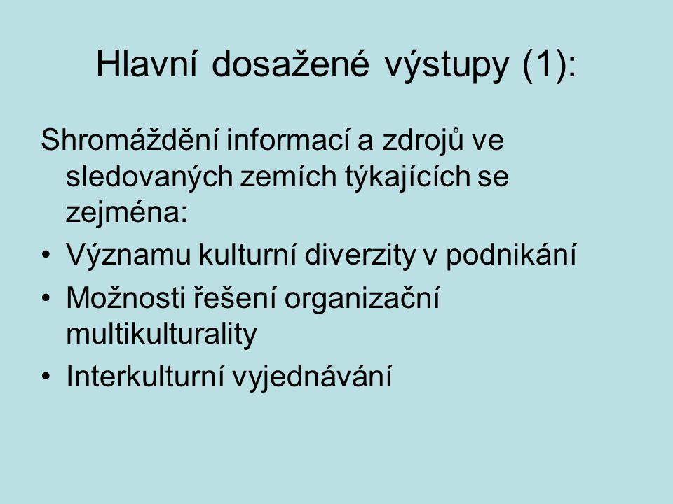 Hlavní dosažené výstupy (1): Shromáždění informací a zdrojů ve sledovaných zemích týkajících se zejména: Významu kulturní diverzity v podnikání Možnos