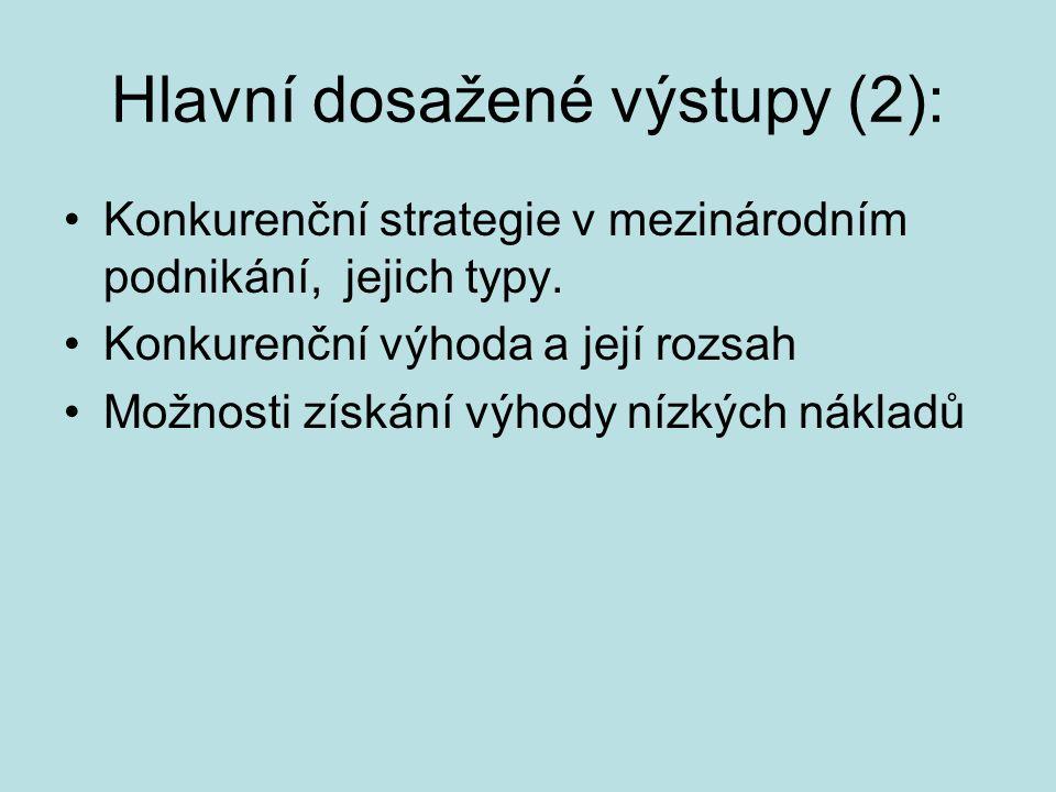 Hlavní dosažené výstupy (2): Konkurenční strategie v mezinárodním podnikání, jejich typy. Konkurenční výhoda a její rozsah Možnosti získání výhody níz