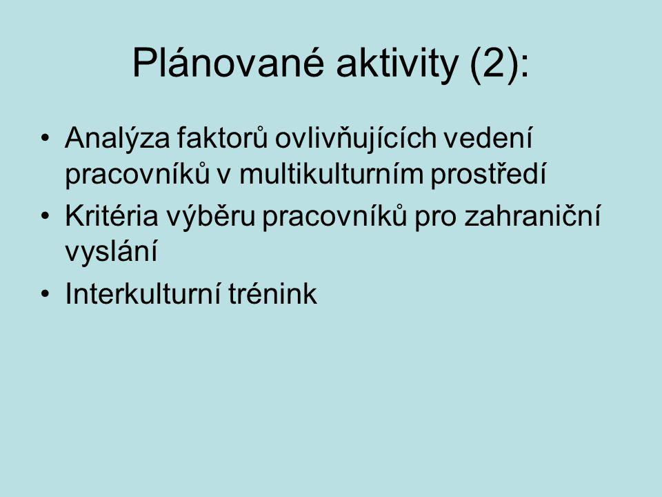 Plánované aktivity (2): Analýza faktorů ovlivňujících vedení pracovníků v multikulturním prostředí Kritéria výběru pracovníků pro zahraniční vyslání I