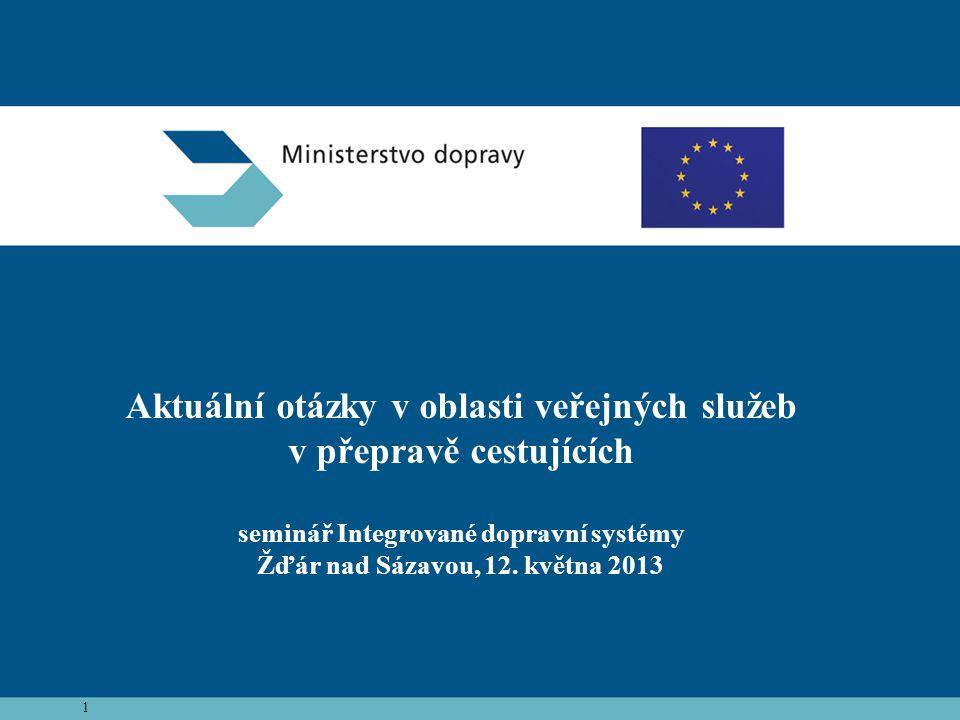 1 Aktuální otázky v oblasti veřejných služeb v přepravě cestujících seminář Integrované dopravní systémy Žďár nad Sázavou, 12.