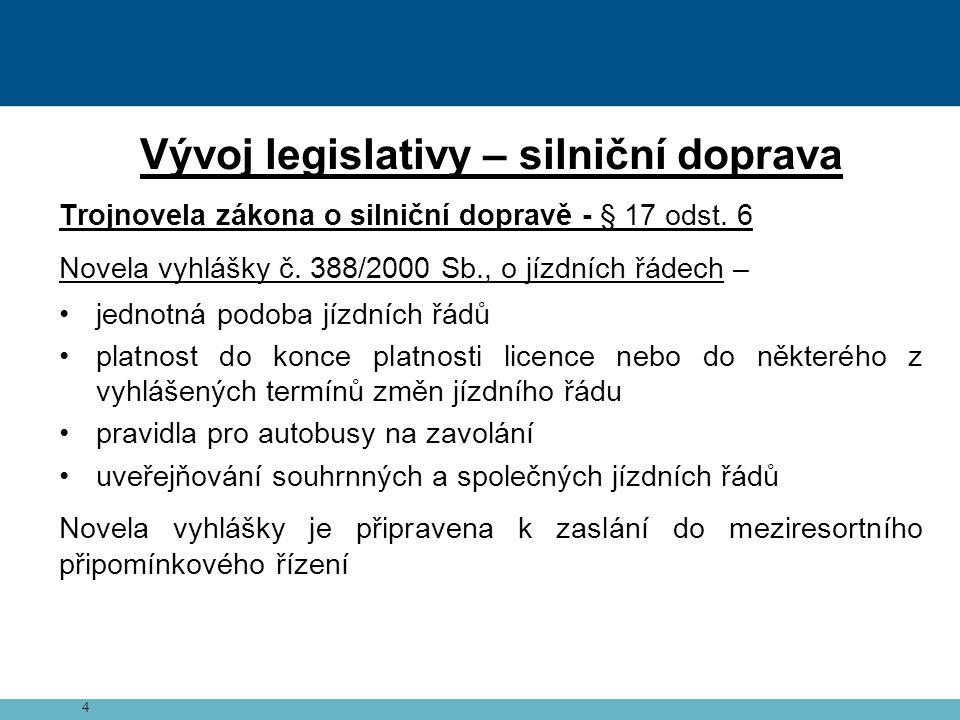 4 Vývoj legislativy – silniční doprava Trojnovela zákona o silniční dopravě - § 17 odst.