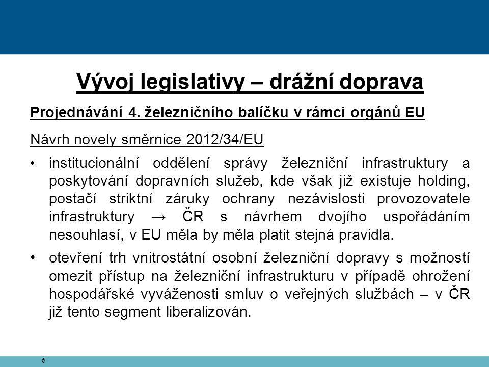 7 Vývoj legislativy – drážní doprava Projednávání 4.