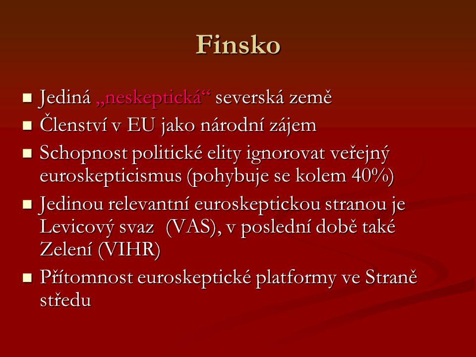 """Finsko Jediná """"neskeptická severská země Jediná """"neskeptická severská země Členství v EU jako národní zájem Členství v EU jako národní zájem Schopnost politické elity ignorovat veřejný euroskepticismus (pohybuje se kolem 40%) Schopnost politické elity ignorovat veřejný euroskepticismus (pohybuje se kolem 40%) Jedinou relevantní euroskeptickou stranou je Levicový svaz (VAS), v poslední době také Zelení (VIHR) Jedinou relevantní euroskeptickou stranou je Levicový svaz (VAS), v poslední době také Zelení (VIHR) Přítomnost euroskeptické platformy ve Straně středu Přítomnost euroskeptické platformy ve Straně středu"""