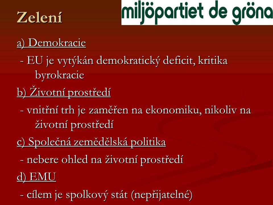 Zelení a) Demokracie - EU je vytýkán demokratický deficit, kritika byrokracie - EU je vytýkán demokratický deficit, kritika byrokracie b) Životní prostředí - vnitřní trh je zaměřen na ekonomiku, nikoliv na životní prostředí - vnitřní trh je zaměřen na ekonomiku, nikoliv na životní prostředí c) Společná zemědělská politika - nebere ohled na životní prostředí - nebere ohled na životní prostředí d) EMU - cílem je spolkový stát (nepřijatelné) - cílem je spolkový stát (nepřijatelné)