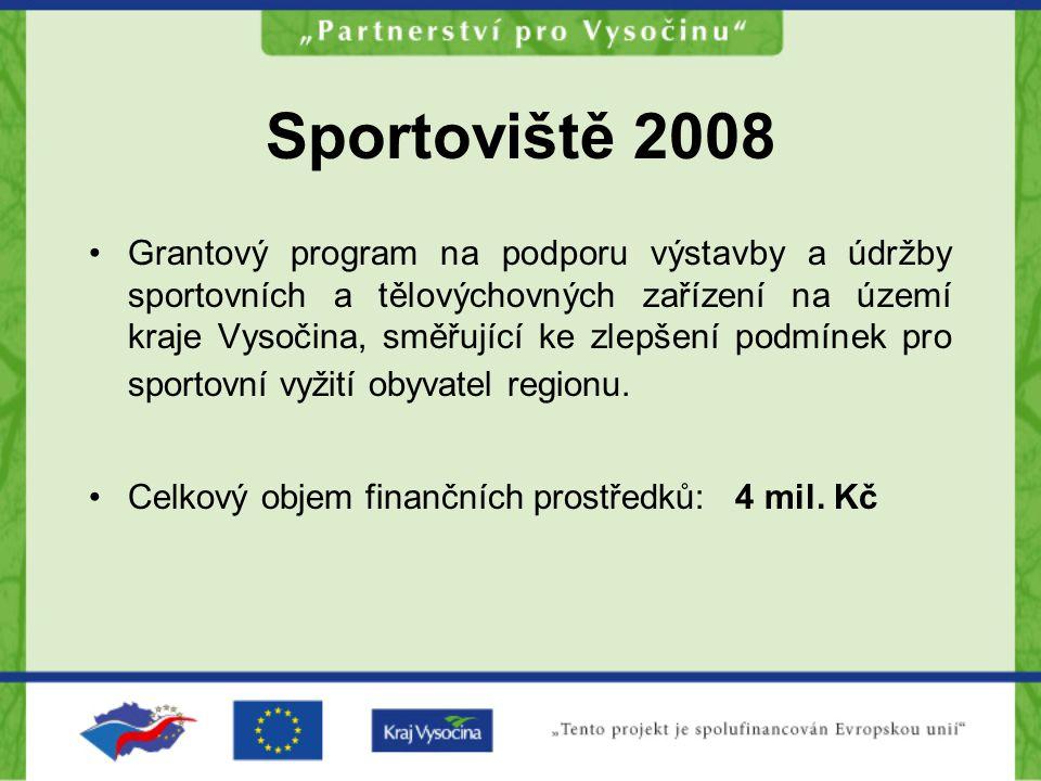 Sportoviště 2008 Grantový program na podporu výstavby a údržby sportovních a tělovýchovných zařízení na území kraje Vysočina, směřující ke zlepšení podmínek pro sportovní vyžití obyvatel regionu.