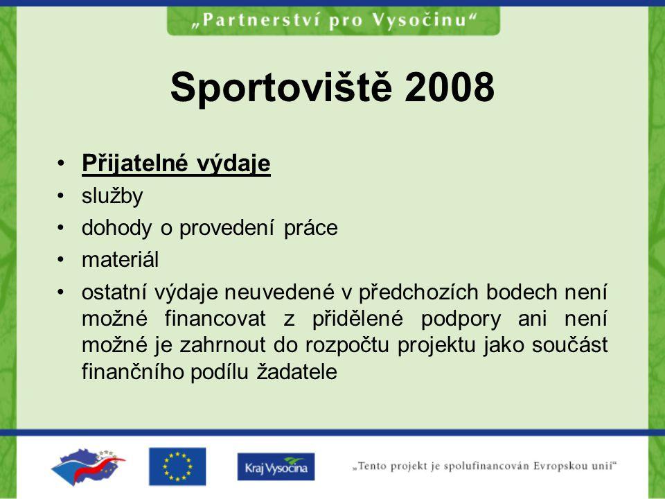 Sportoviště 2008 Finanční podmínky: Podprogram A Výše příspěvku: 10 000,- Kč – 30 000,- Kč / projekt Min.