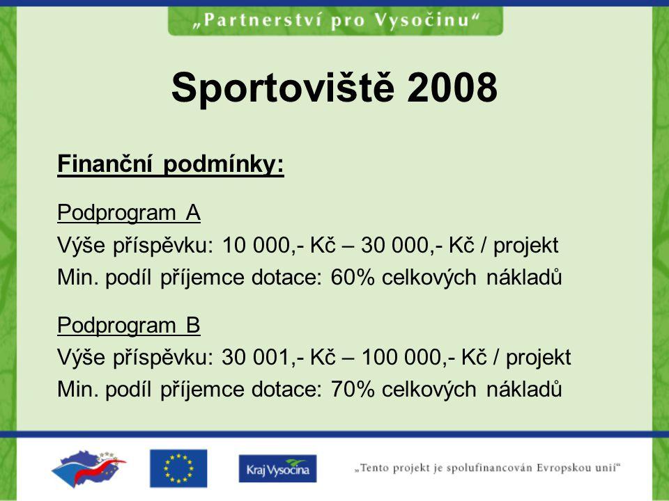 Sportoviště 2008 Termíny a podmínky podání projektů Finanční prostředky jsou poskytovány po profinancování celkových nákladů a předložení vyúčtování 2 vyhotovení vč.