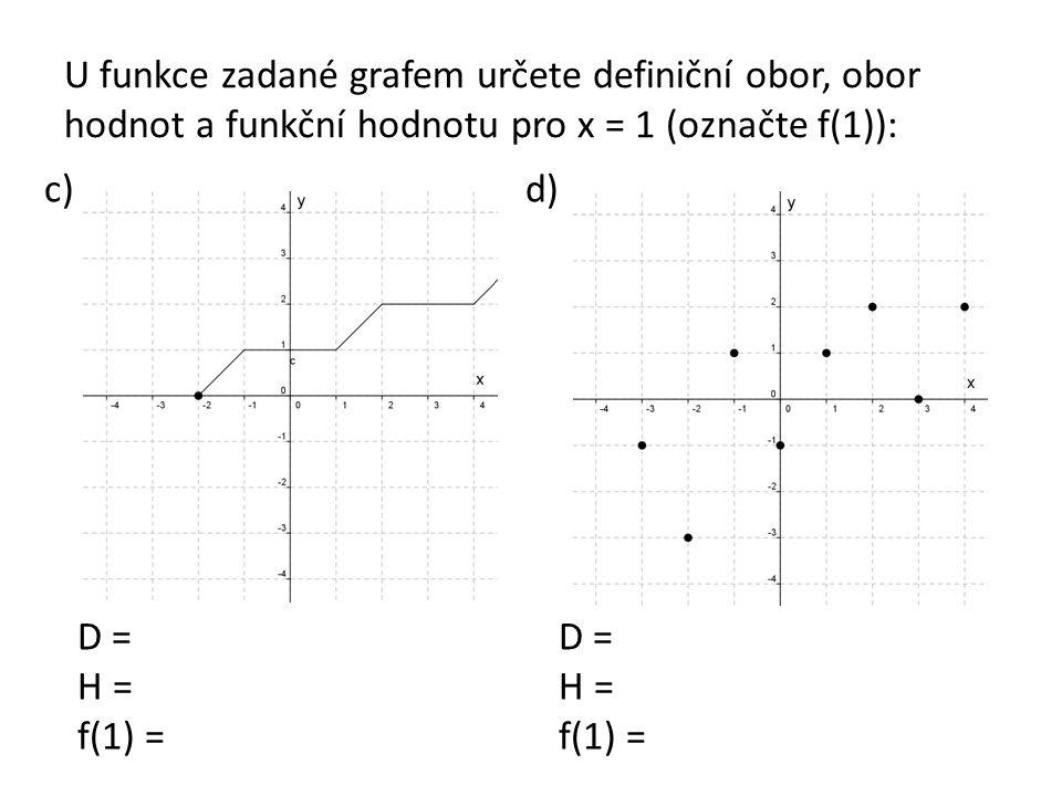U funkce zadané grafem určete definiční obor, obor hodnot a funkční hodnotu pro x = 1 (označte f(1)): c)d) D = H = f(1) = D = H = f(1) =