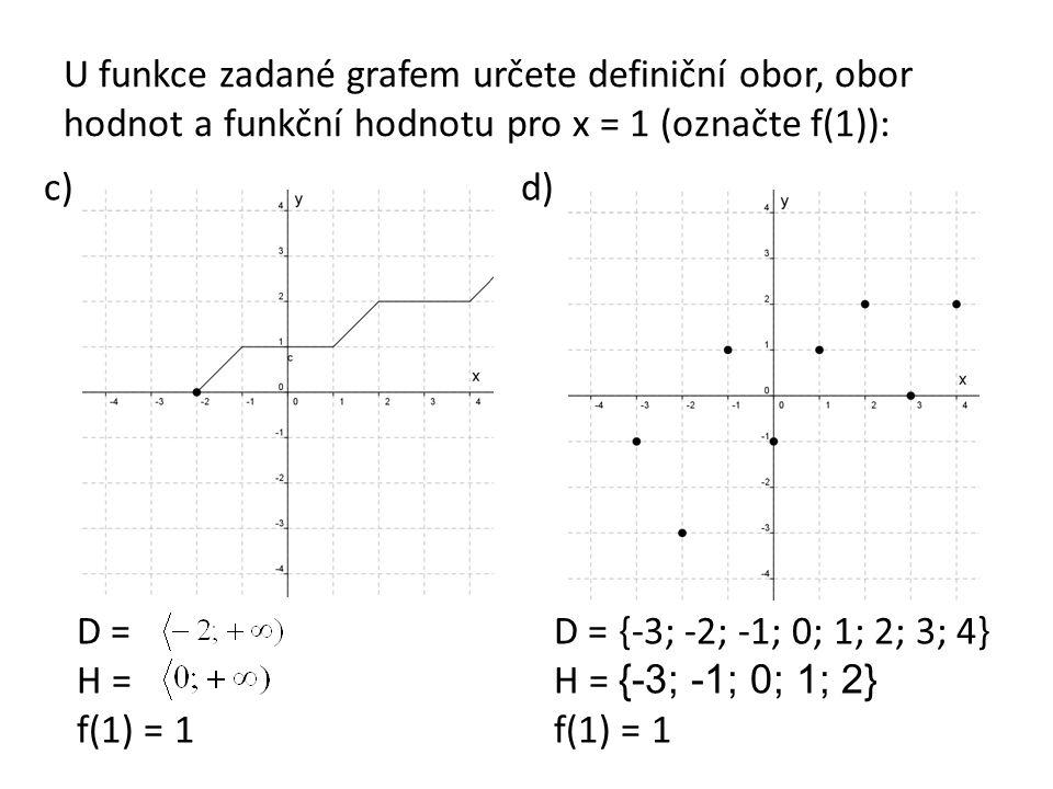 U funkce zadané grafem určete definiční obor, obor hodnot a funkční hodnotu pro x = 1 (označte f(1)): c)d) D = H = f(1) = 1 D = {-3; -2; -1; 0; 1; 2;