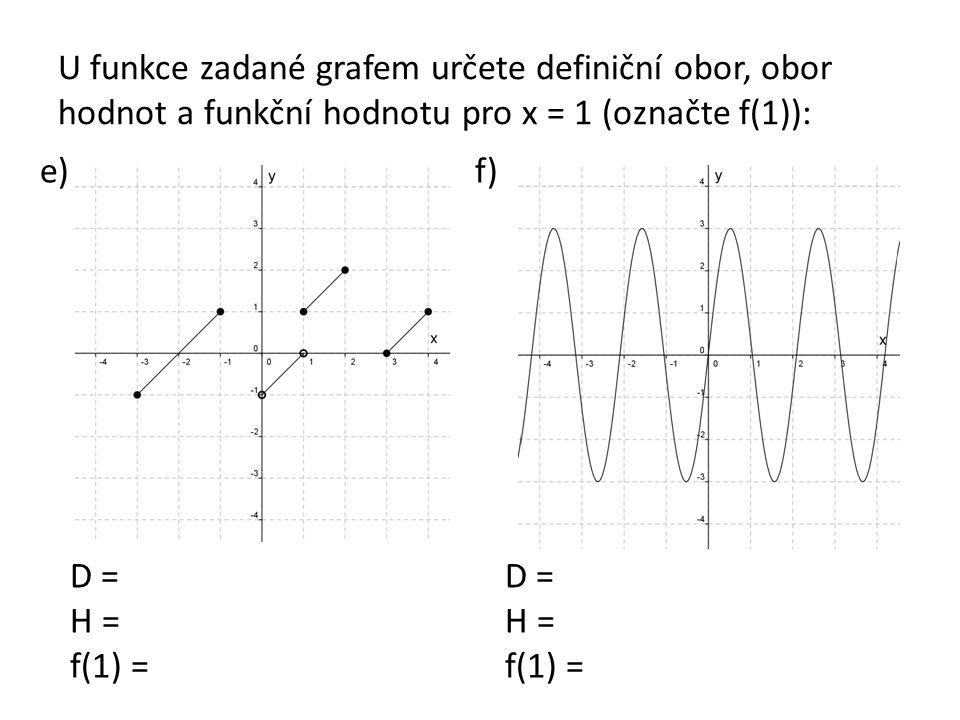 U funkce zadané grafem určete definiční obor, obor hodnot a funkční hodnotu pro x = 1 (označte f(1)): e)f) D = H = f(1) = D = H = f(1) =