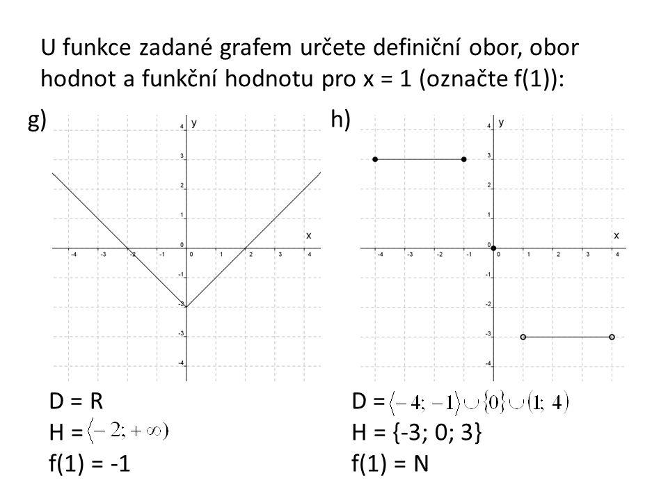 U funkce zadané grafem určete definiční obor, obor hodnot a funkční hodnotu pro x = 1 (označte f(1)): g)h) D = R H = f(1) = -1 D = H = {-3; 0; 3} f(1)