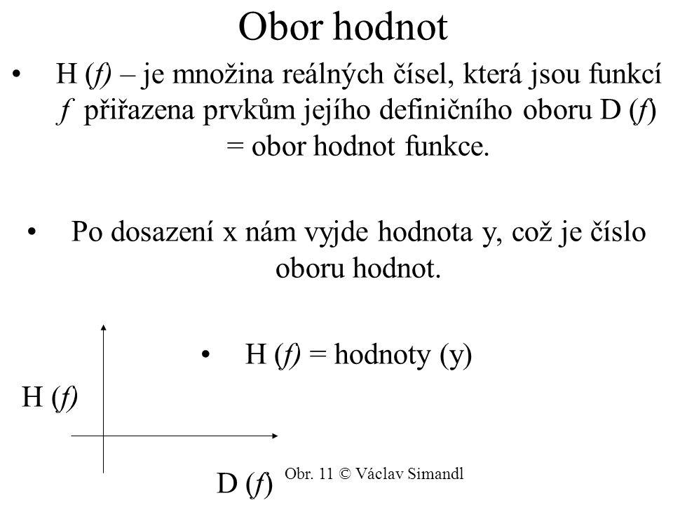 Obor hodnot H (f) – je množina reálných čísel, která jsou funkcí f přiřazena prvkům jejího definičního oboru D (f) = obor hodnot funkce. Po dosazení x