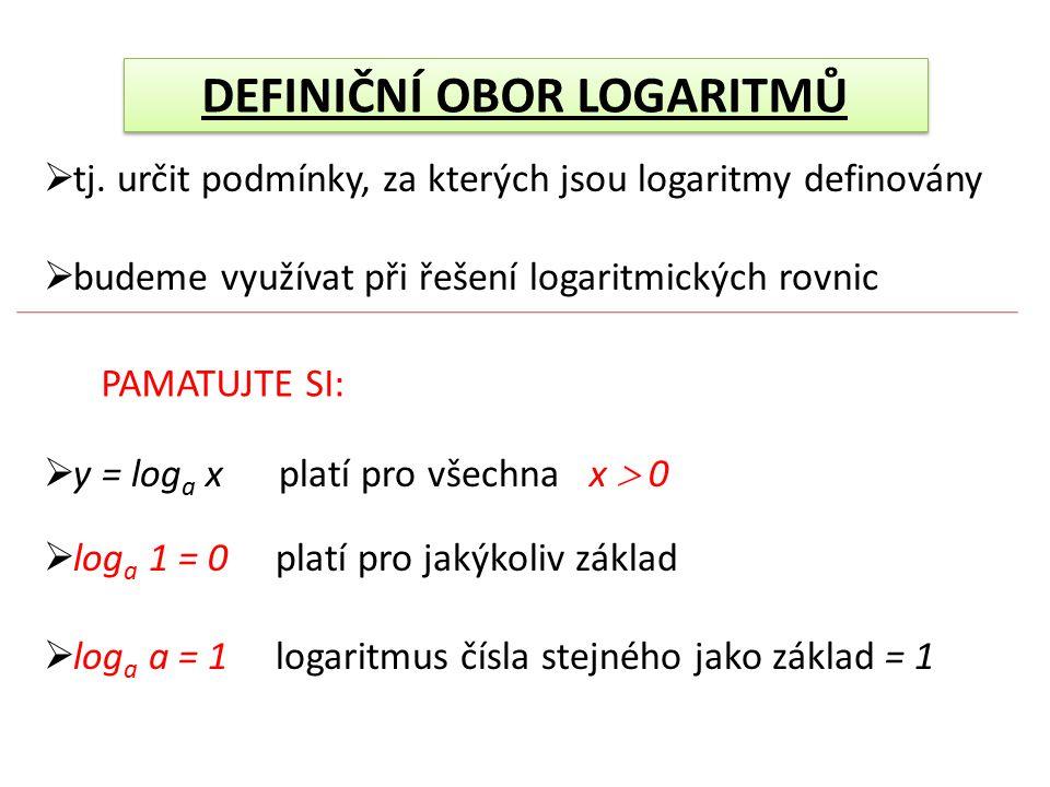 DEFINIČNÍ OBOR LOGARITMŮ Př.: y = log(x + 1) D(f): x + 1  0 x  -1 D(f): x  (-1; ∞) Př.: y = log(3 - x) D(f): 3 – x  0 - x  -3 x  3 D(f): x  (-∞;3)