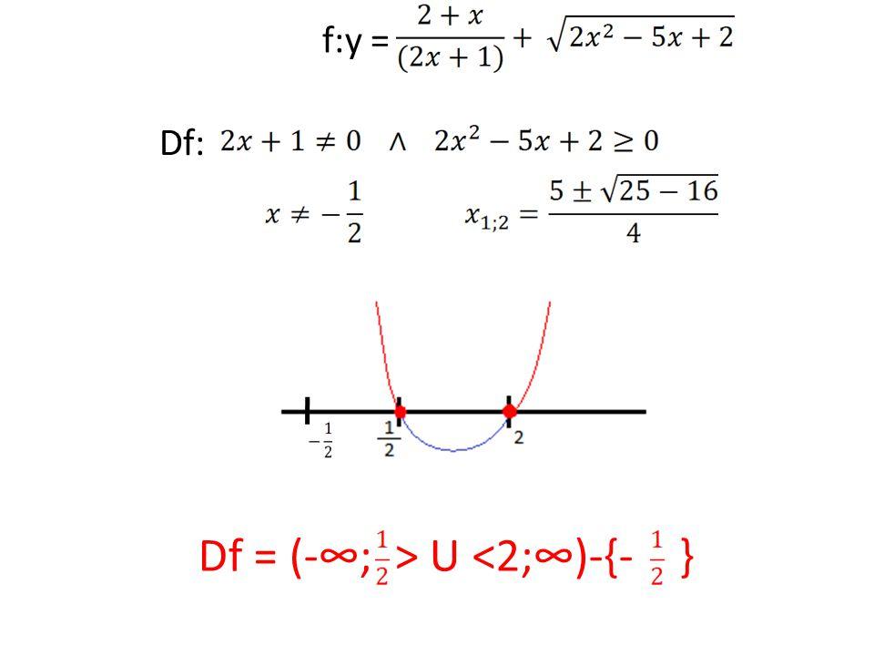 f:y = Df: Df = (-∞; > U <2;∞)-{- }