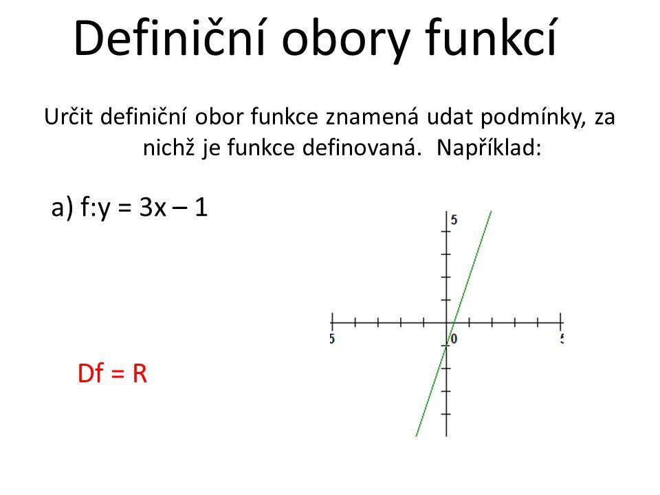 Definiční obory funkcí Určit definiční obor funkce znamená udat podmínky, za nichž je funkce definovaná. Například: a) f:y = 3x – 1 Df = R