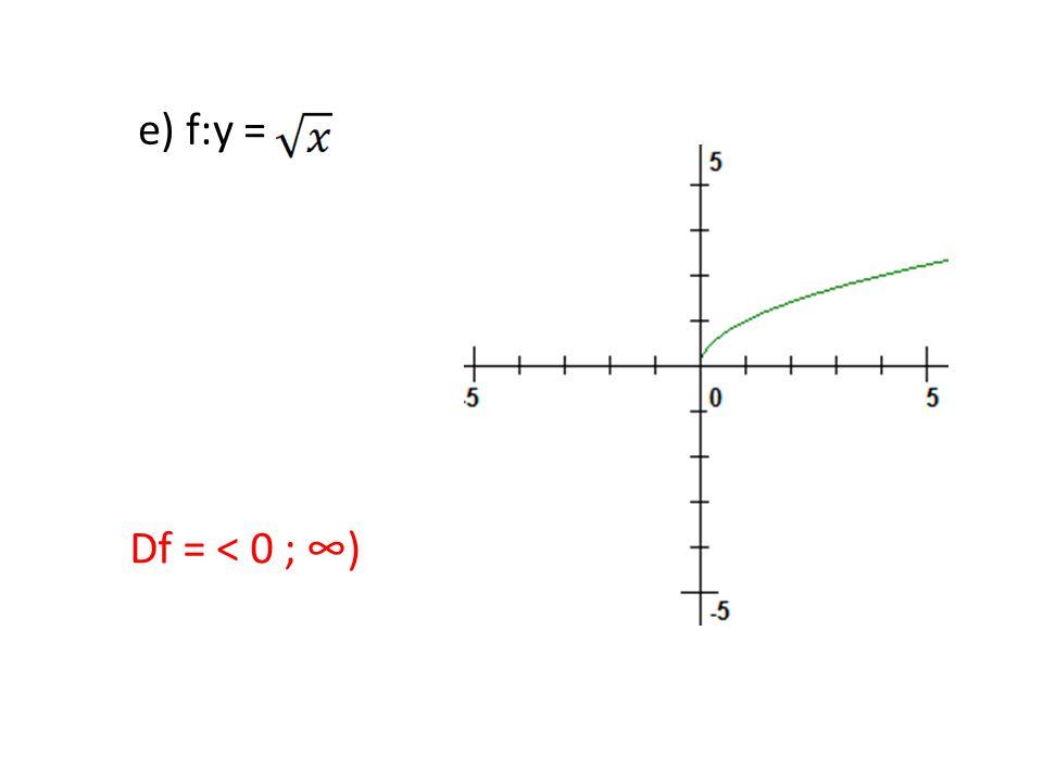 e) f:y = Df = < 0 ; ∞)