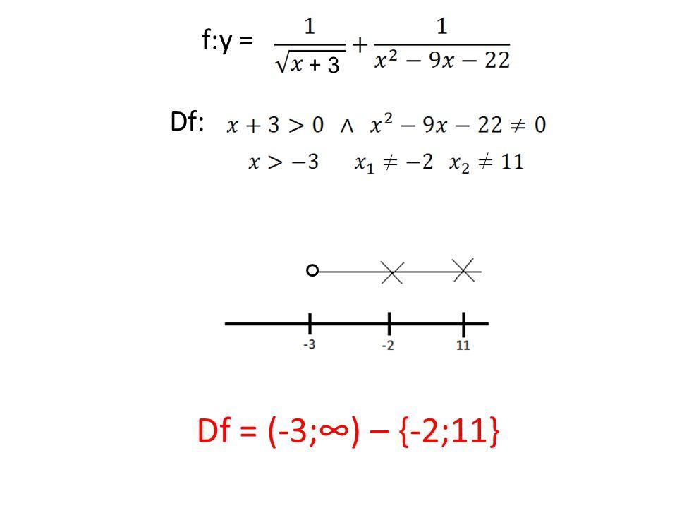 f:y = Df: Df = (-3;∞) – {-2;11} + 3