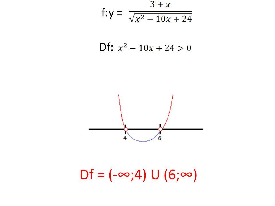 f:y = Df: Df = (-∞;4) U (6;∞)
