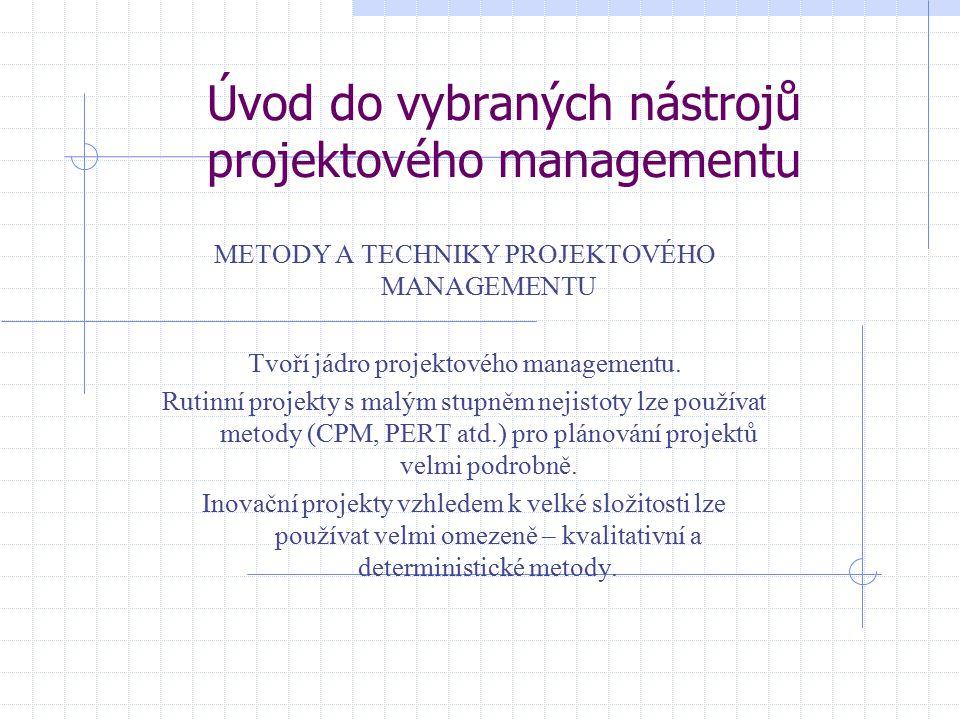 Úvod do vybraných nástrojů projektového managementu METODY A TECHNIKY PROJEKTOVÉHO MANAGEMENTU Tvoří jádro projektového managementu. Rutinní projekty