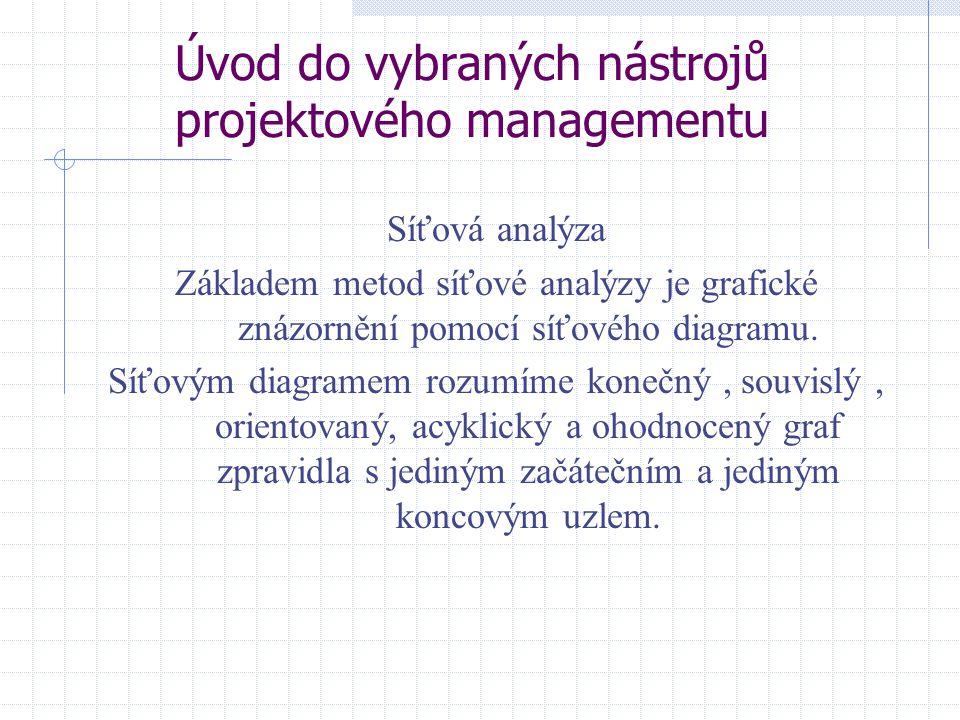 Úvod do vybraných nástrojů projektového managementu Síťová analýza Základem metod síťové analýzy je grafické znázornění pomocí síťového diagramu. Síťo