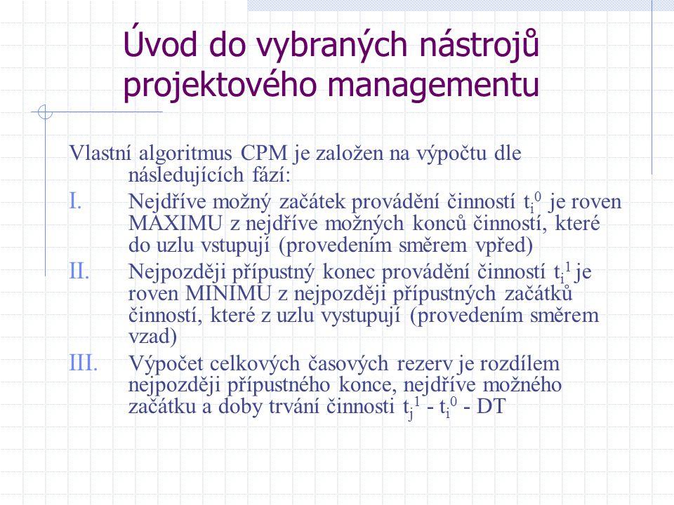 Úvod do vybraných nástrojů projektového managementu Vlastní algoritmus CPM je založen na výpočtu dle následujících fází: I. Nejdříve možný začátek pro