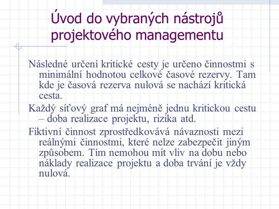 Úvod do vybraných nástrojů projektového managementu Následné určení kritické cesty je určeno činnostmi s minimální hodnotou celkové časové rezervy. Ta