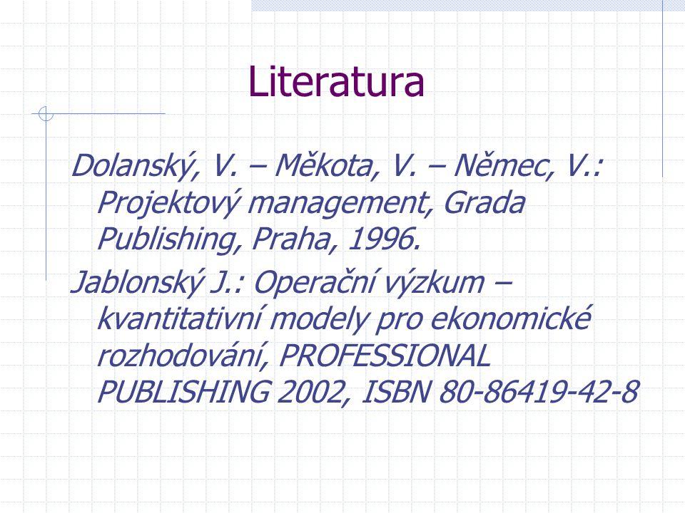 Literatura Dolanský, V. – Měkota, V. – Němec, V.: Projektový management, Grada Publishing, Praha, 1996. Jablonský J.: Operační výzkum – kvantitativní