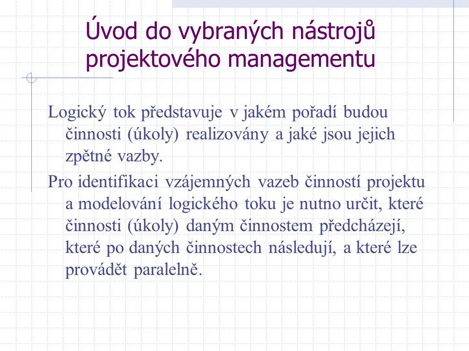 Úvod do vybraných nástrojů projektového managementu Logický tok představuje v jakém pořadí budou činnosti (úkoly) realizovány a jaké jsou jejich zpětn