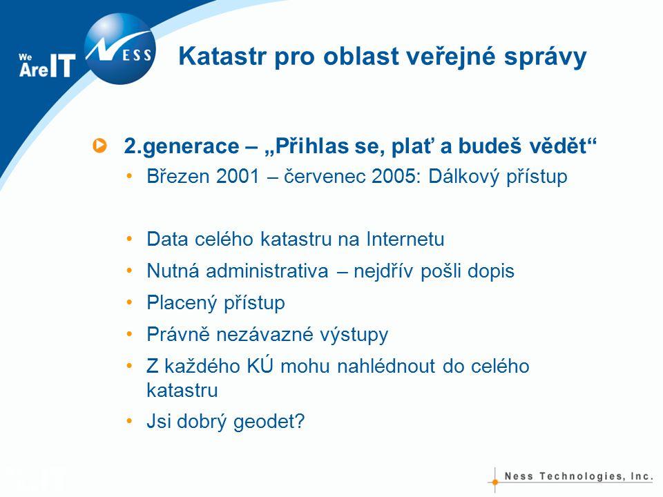 """Katastr pro oblast veřejné správy 2.generace – """"Přihlas se, plať a budeš vědět"""" Březen 2001 – červenec 2005: Dálkový přístup Data celého katastru na I"""