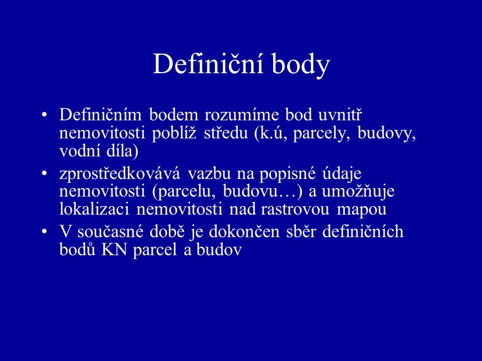 Definiční body Definičním bodem rozumíme bod uvnitř nemovitosti poblíž středu (k.ú, parcely, budovy, vodní díla) zprostředkovává vazbu na popisné údaj