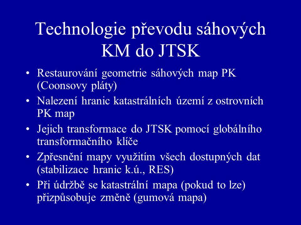 Technologie převodu sáhových KM do JTSK Restaurování geometrie sáhových map PK (Coonsovy pláty) Nalezení hranic katastrálních území z ostrovních PK map Jejich transformace do JTSK pomocí globálního transformačního klíče Zpřesnění mapy využitím všech dostupných dat (stabilizace hranic k.ú., RES) Při údržbě se katastrální mapa (pokud to lze) přizpůsobuje změně (gumová mapa)