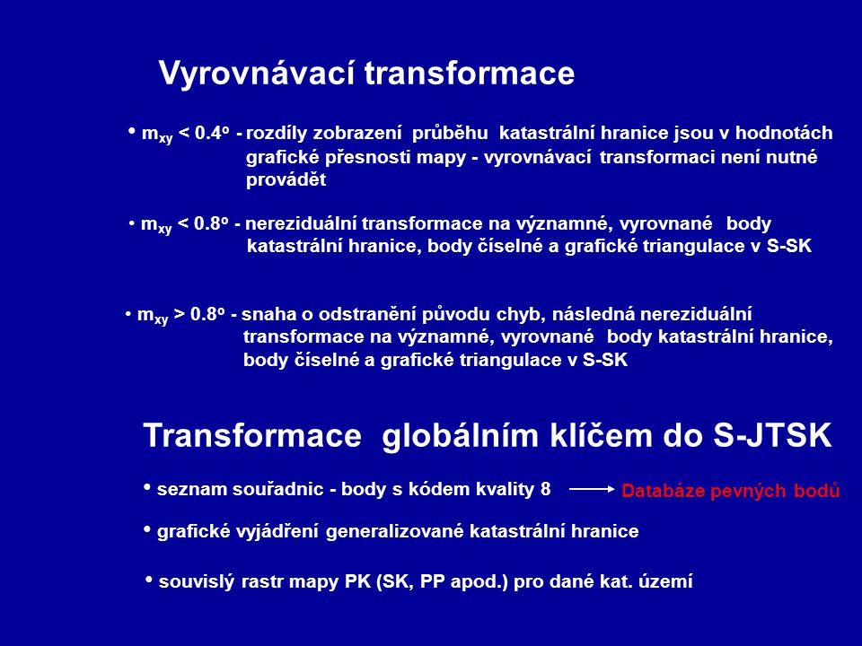 Vyrovnávací transformace m xy < 0.8 o - nereziduální transformace na významné, vyrovnané body katastrální hranice, body číselné a grafické triangulace v S-SK m xy < 0.4 o - rozdíly zobrazení průběhu katastrální hranice jsou v hodnotách grafické přesnosti mapy - vyrovnávací transformaci není nutné provádět m xy > 0.8 o - snaha o odstranění původu chyb, následná nereziduální transformace na významné, vyrovnané body katastrální hranice, body číselné a grafické triangulace v S-SK Transformace globálním klíčem do S-JTSK seznam souřadnic - body s kódem kvality 8 Databáze pevných bodů grafické vyjádření generalizované katastrální hranice souvislý rastr mapy PK (SK, PP apod.) pro dané kat.
