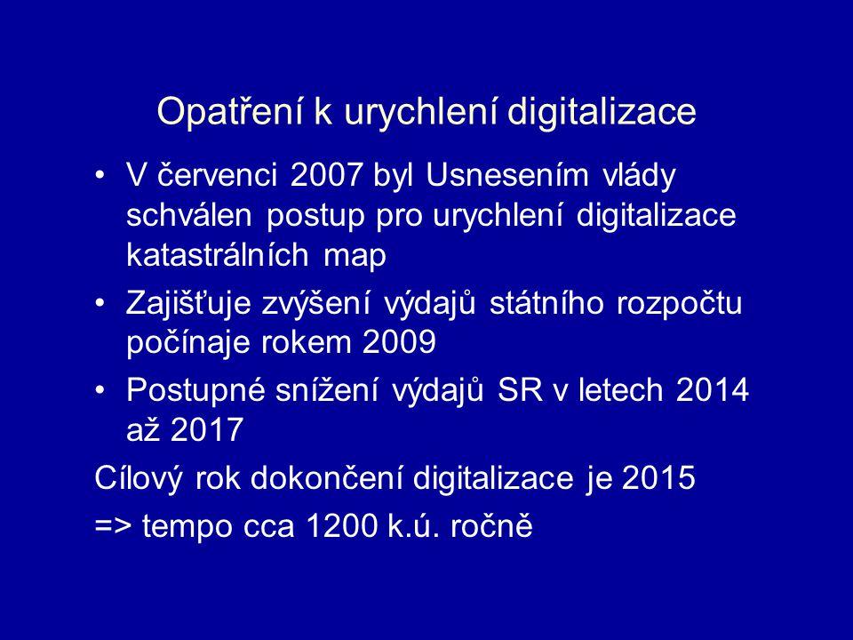 Opatření k urychlení digitalizace V červenci 2007 byl Usnesením vlády schválen postup pro urychlení digitalizace katastrálních map Zajišťuje zvýšení výdajů státního rozpočtu počínaje rokem 2009 Postupné snížení výdajů SR v letech 2014 až 2017 Cílový rok dokončení digitalizace je 2015 => tempo cca 1200 k.ú.