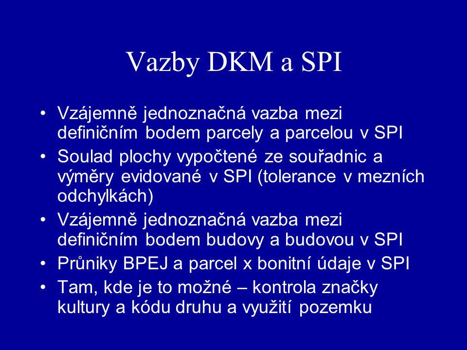 Vazby DKM a SPI Vzájemně jednoznačná vazba mezi definičním bodem parcely a parcelou v SPI Soulad plochy vypočtené ze souřadnic a výměry evidované v SPI (tolerance v mezních odchylkách) Vzájemně jednoznačná vazba mezi definičním bodem budovy a budovou v SPI Průniky BPEJ a parcel x bonitní údaje v SPI Tam, kde je to možné – kontrola značky kultury a kódu druhu a využití pozemku