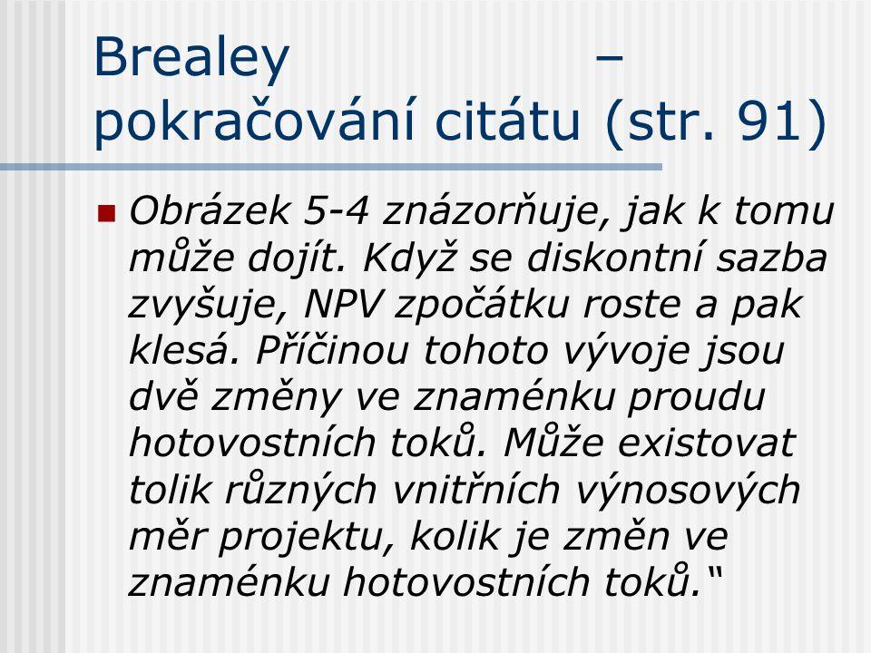 Brealey – pokračování citátu (str. 91) Obrázek 5-4 znázorňuje, jak k tomu může dojít. Když se diskontní sazba zvyšuje, NPV zpočátku roste a pak klesá.
